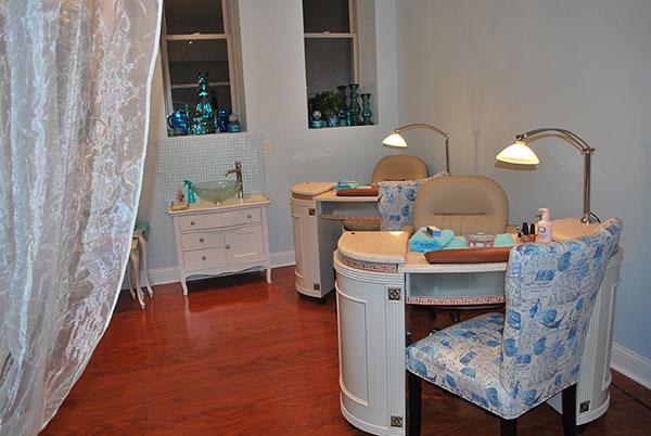 manicure stations at Sorella Hair Salon
