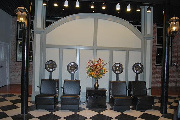 line of hair dryers at Sorella Hair Salon