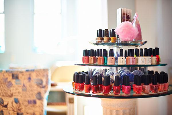 Nail polish station at Sorella Hair Salon