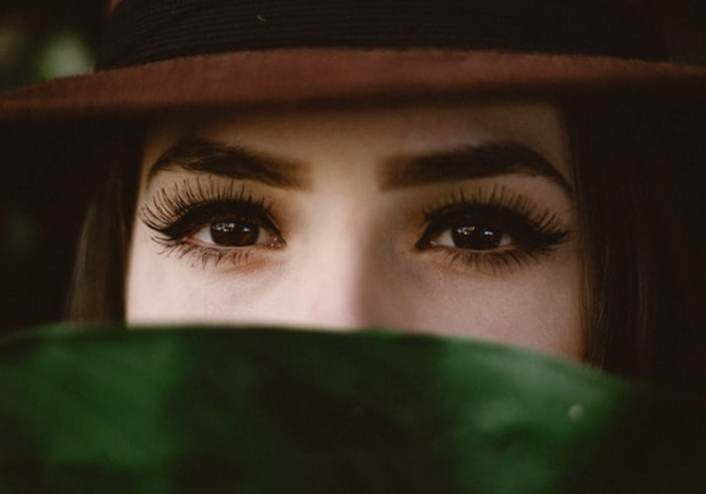 closeup of a woman's eyes with long lashes